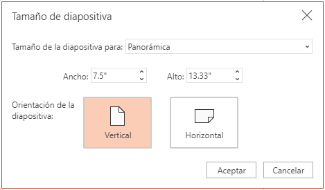 En el cuadro de diálogo Tamaño de diapositiva, puede seleccionar entre una relación de aspecto estándar o de pantalla panorámica, y puede seleccionar entre una orientación vertical u horizontal.