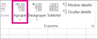 Haga clic en Agrupar en la pestaña Datos
