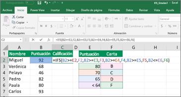 Hoja de cálculo que muestra cómo usar SI.CONJUNTO para calcular las calificaciones de los alumnos