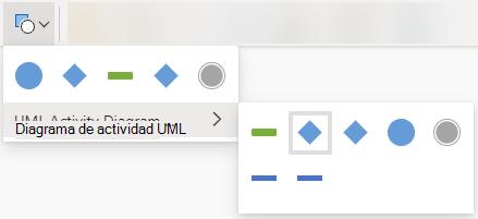 Al seleccionar el botón Cambiar forma, se abre una galería de opciones para reemplazar la forma seleccionada.