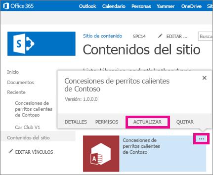 comando de actualización en los puntos suspensivos para la aplicación en la página Contenidos del sitio