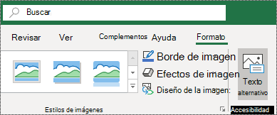 Botón texto alternativo en la cinta de opciones de Excel para Windows