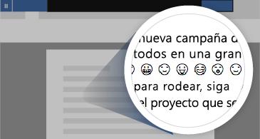 Documento con una zona ampliada en la que se muestran emojis disponibles