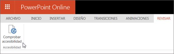 Captura de pantalla que muestra la pestaña Revisar con el cursor apuntando a la opción Comprobar accesibilidad.