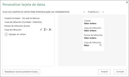 Cuadro de diálogo Personalizar tarjeta de datos