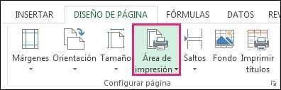 Establecer área de impresión