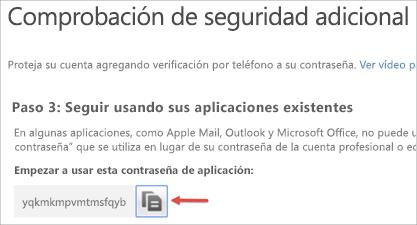 Imagen del icono de copiar para copiar la contraseña de aplicación en el Portapapeles.
