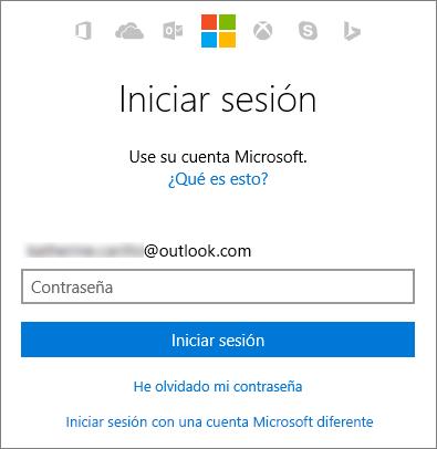 Captura de pantalla donde se muestra la pantalla de inicio de sesión de una cuenta Microsoft