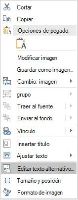 Menú de texto de Word Win32 editar alternativo de imágenes