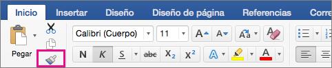 En la pestaña Inicio está resaltada la opción Copiar el formato de una ubicación y aplicarlo en otra.