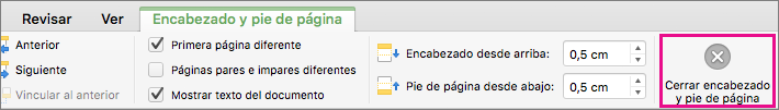 Para detener la edición del encabezado o pie de página de un documento, haga clic en Cerrar encabezado y pie de página.