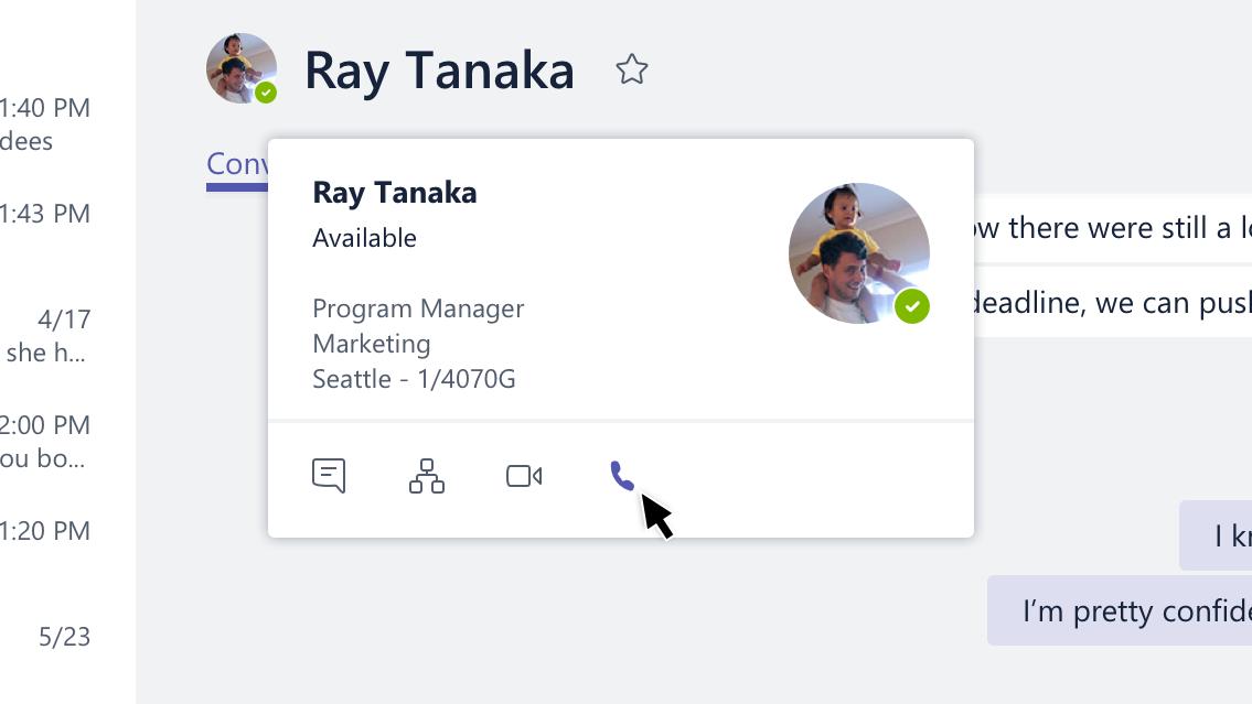 tarjeta de perfil con la opción de llamada