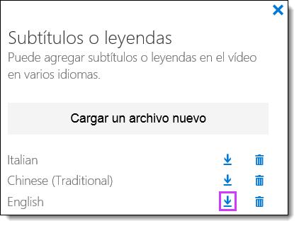 O365 Vídeo descargar subtítulos