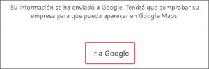 Captura de pantalla: Haga clic en Continuar para comprobar la descripción de su empresa con Google