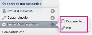 Compartir archivos adjuntos está resaltado