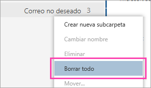 Una captura de pantalla de la opción Eliminar todo