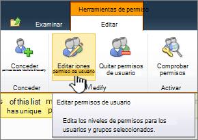 Editar permisos de usuario.