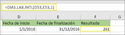 =DIAS.LAB.INTL(D53,E53,1) y resultado: 261