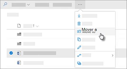 Captura de pantalla del comando mover a en OneDrive para la empresa