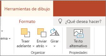 Botón texto alternativo en la cinta de opciones para una forma y un vídeo en PowerPoint online.