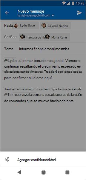 Captura de pantalla del botón Agregar sensibilidad en Outlook para Android