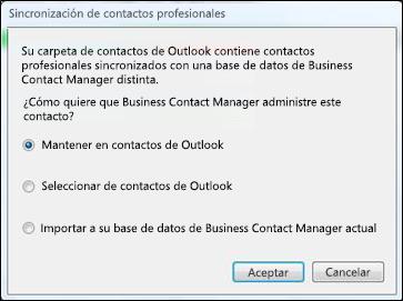 cuadro de diálogo sincronización de contactos profesionales