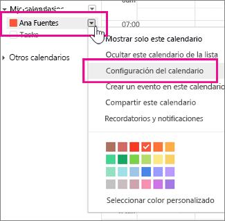 configuración del calendario de google