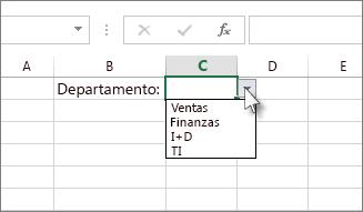 Lista desplegable de ejemplo en Excel