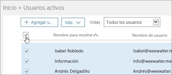 Elija el cuadro situado en la parte superior para seleccionar todos los usuarios de su organización.