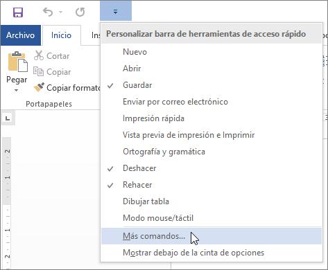 Seleccionar más comandos para la barra de herramientas de acceso rápido