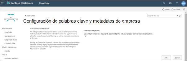 Configuración de metadatos y palabras clave de empresa