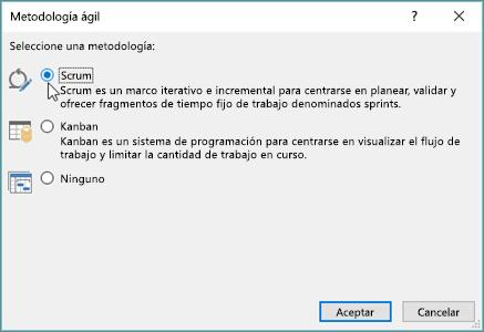 Captura de pantalla del cuadro de diálogo metodología ágil