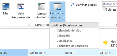 Lista desplegable de calendarios que se pueden compartir