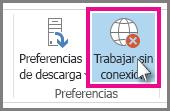 Botón Trabajar sin conexión en Outlook 2013