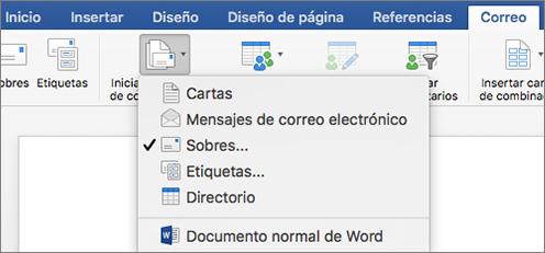En la pestaña Correspondencia, seleccione Sobres de la lista Iniciar combinación de correspondencia.