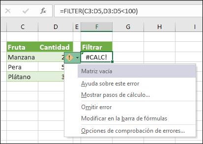 ¡#CALC! Error: matriz vacía