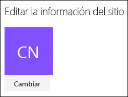 Captura de pantalla que muestra el diálogo de SharePoint para cambiar el logotipo del sitio.