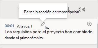 Seleccionar la sección editar transcripción