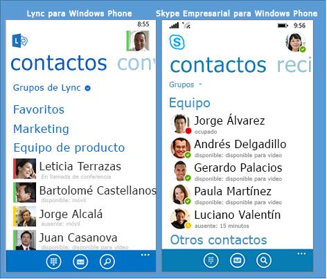 Comprobación en paralelo de Lync y Skype Empresarial para Windows Phone