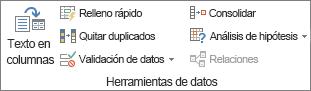 Grupo Herramientas de datos en la pestaña Datos