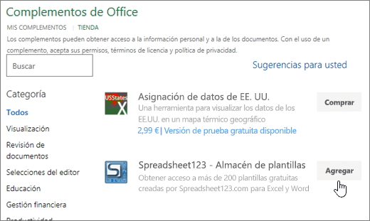 Captura de pantalla muestra la página de complementos de Office donde puede seleccionar o buscar un complemento para Excel.