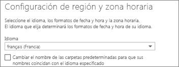 Establezca el idioma de OutlookWebApp y decida si quiere cambiar el nombre de las carpetas.