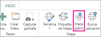Botón Mapa plano de la pestaña Inicio de Power Map