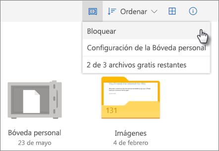 Captura de pantalla de bloqueo de Personal Vault en OneDrive