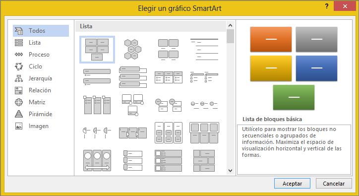 Opciones en el cuadro de diálogo Elegir un elemento gráfico SmartArt