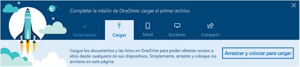 captura de pantalla del paseo guiado por OneDrive que aparece al usar por primera vez OneDrive para la empresa en Office 365