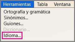 Menú Herramientas de idioma en Office para Mac