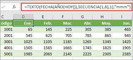 Hoja de cálculo de Excel con la función SECUENCIA