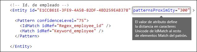 Formato XML que muestra el atributo patternsProximity