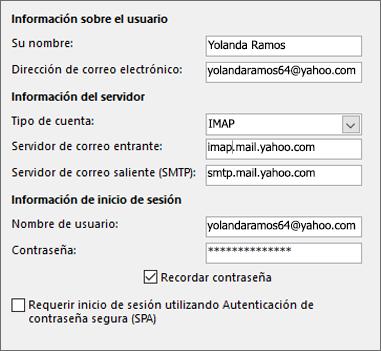 Escriba la información del servidor para Yahoo